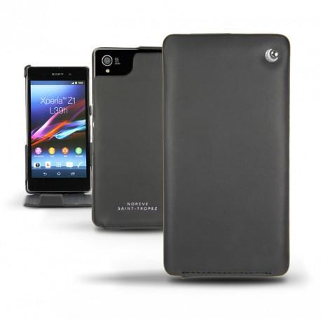Sony Xperia Z1  leather case - Noir ( Nappa - Black )